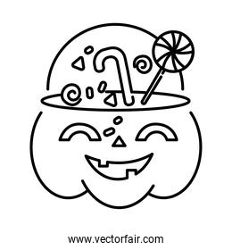 halloween pumpkin with sweet candies line style icon