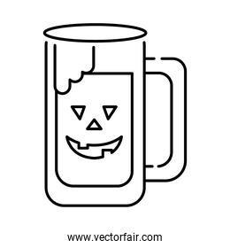 beer jar with halloween face line style