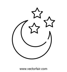 crescent moon and stars line style icon