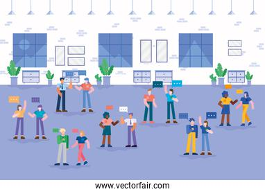 Coworking of people with bubbles at office vector design