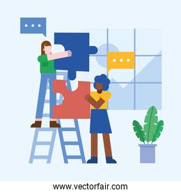 Coworking of women on ladder with bubbles and puzzles at office vector design