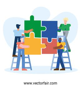 Coworking of men on ladders with puzzles at office vector design
