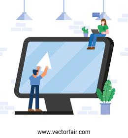 Coworking of woman and man with computer and laptop vector design