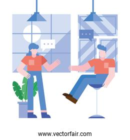 Coworking of woman and man with bubbles at office vector design