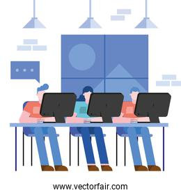 Coworking of woman and men at desk at office vector design