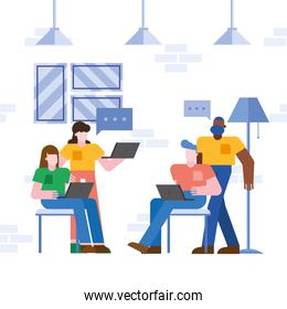 Coworking of people with laptops and bubbles at office vector design
