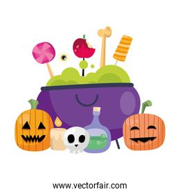 halloween pumpkins cartoons and candies in witch bowl vector design