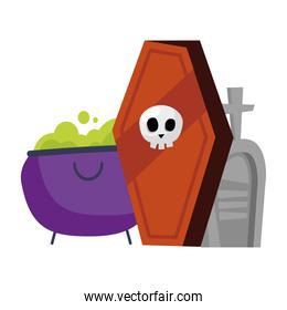 halloween coffin with skull witch bowl and grave vector design