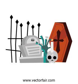 halloween coffin grave zombie hand and skull candle vector design