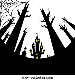 halloween house grave and bare trees vector design