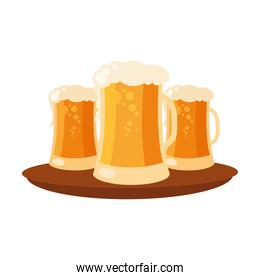 beer glasses on tray vector design