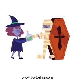 halloween witch with poison and mummy cartoon in coffin vector design