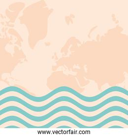 World pink map with blue striped banner vector design
