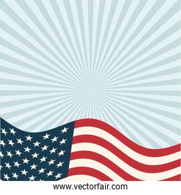 usa flag in front of blue striped background vector design