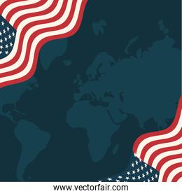 usa flags in front of map vector design