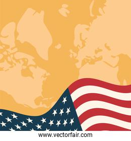 usa flag in front of map vector design