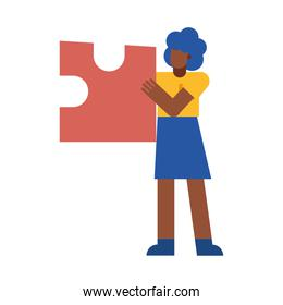 black woman with puzzle vector design