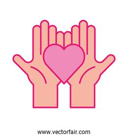 Heart on hands line and fill style icon vector design