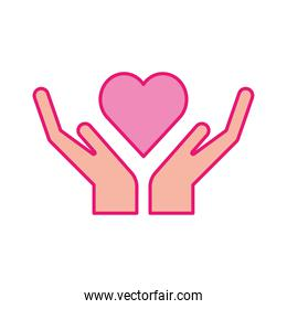 Heart over hands line and fill style icon vector design