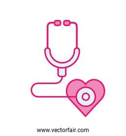 medical stethoscope with heart line and fill style icon vector design