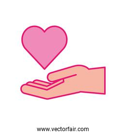 Heart over hand line and fill style icon vector design