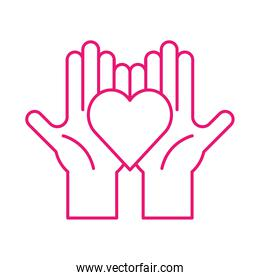 Heart on hands line style icon vector design