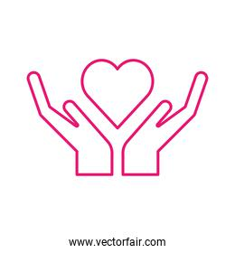 Heart over hands line style icon vector design
