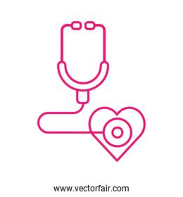 medical stethoscope with heart line style icon vector design