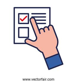 vote paper with check mark and hand line and fill style icon vector design