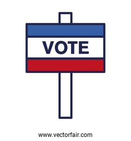 vote banner line and fill style icon vector design