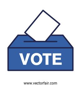 vote paper on box line and fill style icon vector design