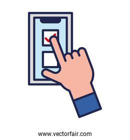 vote check mark on smartphone and hand line and fill style icon vector design