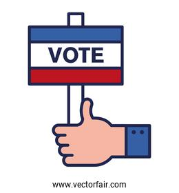 vote banner with like hand line and fill style icon vector design