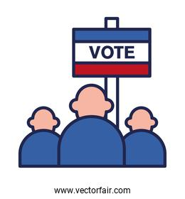 vote banner and people line and fill style icon vector design