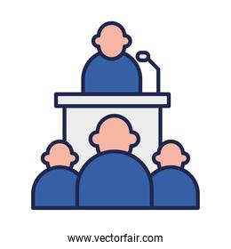president on podium and people line and fill style icon vector design
