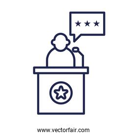 president on podium with star and bubble line style icon vector design