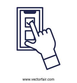 vote check mark on smartphone and hand line style icon vector design