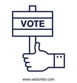 vote banner with like hand line style icon vector design