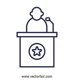 president on podium with star line style icon vector design