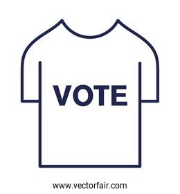 vote tshirt line style icon vector design