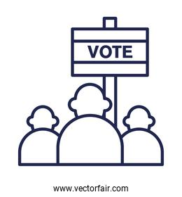 vote banner and people line style icon vector design