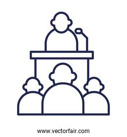 president on podium and people line style icon vector design
