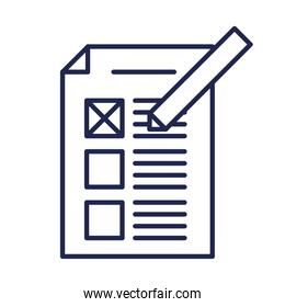 vote paper and pen line style icon vector design
