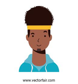 afro ethnic man with sport wear character icon