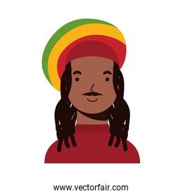 afro ethnic man with jamaican hat character icon