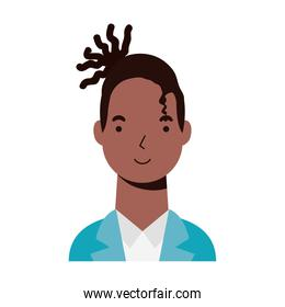 afro ethnic man character icon