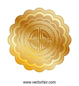 golden chinese seal toten isolated icon