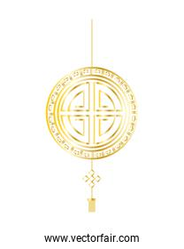 golden chinese seal toten hanging isolated icon