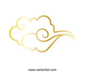 golden chinese cloud sky isolated icon