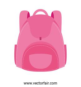 pink school bag equipment flat style icon
